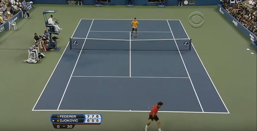 Klassikkovideo: Federerin huikea lyönti US Open -semifinaalissa 2009 sai Djokonkin hymyilemään