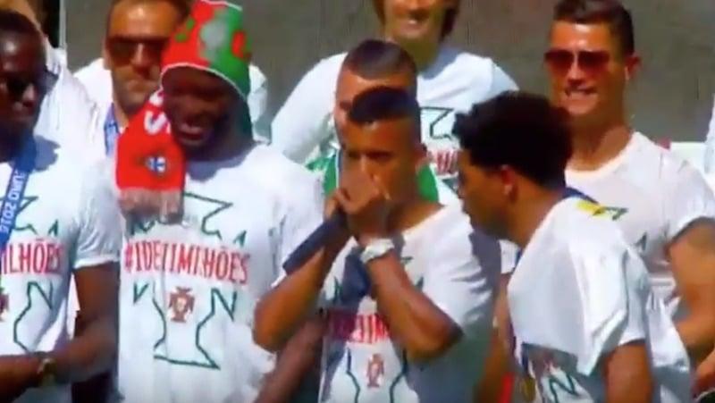 Video: Nani ja Renato Sanches pitivät huikean beatbox-esityksen mestaruusjuhlissa