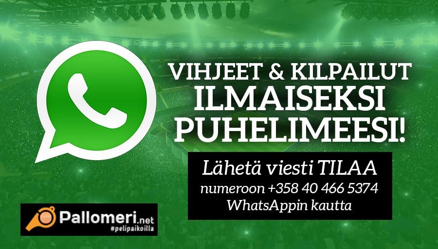 Pallomeri.netin Whatsapp vetovihjeet ja kilpailut suoraan puhelimeesi