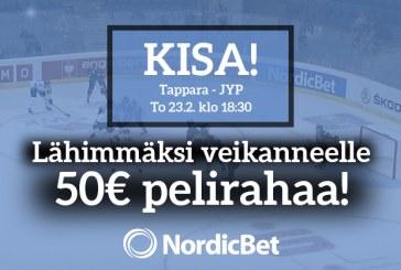 Tappara–JYP-kisa! – lähimmäksi veikanneelle 50€ pelirahaa