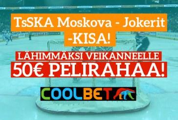 TsSKA Moskova – Jokerit -KISA! – lähimmäksi veikanneelle 50€ pelirahaa
