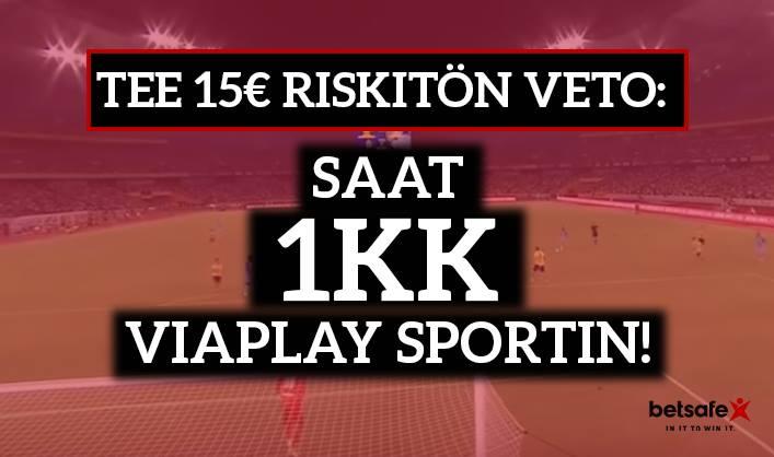 Betsafelta huima tarjous  – 15€ riskitön veto ja 1kk Viaplay Sport -katseluoikeus