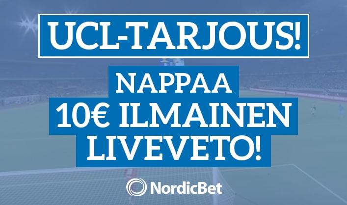 Lyö veto Mestarien liigasta & nappaa ilmainen 10€ liveveto!