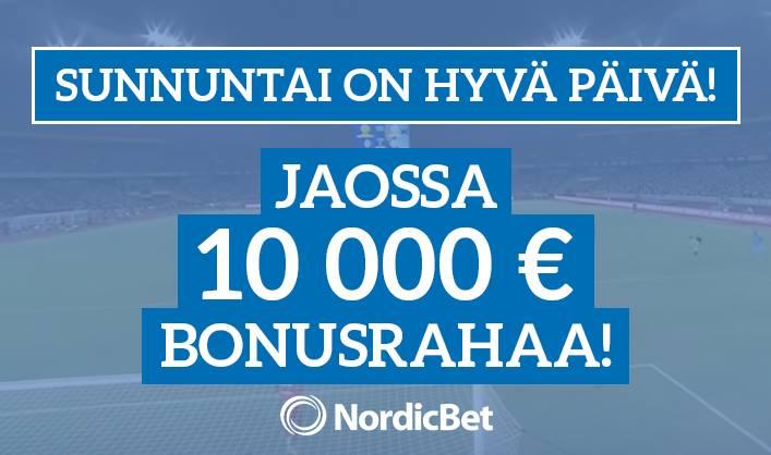 NordicBet tekee sunnuntaista parhaan betsipäivän – jaossa 10 000 € joka sunnuntai