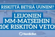 NordicBet tarjoaa riskittömän 10€ vedon jokaiseen Leijonien MM-alkusarjamatsiin!