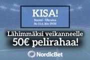 Suomi – Ukraina -KISA! – lähimmäksi veikanneelle 50€ pelirahaa