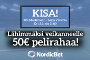 IFK Mariehamn – Legia Varsova -KISA! – lähimmäksi veikanneelle 50€ pelirahaa!