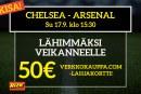 Chelsea – Arsenal -KISA! – lähimmäksi veikanneelle 50€:n Verkkokauppa.com-lahjakortti