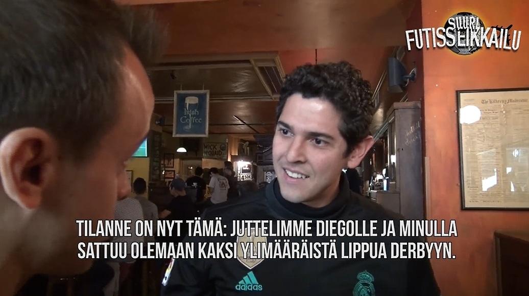 Video: Tuomas Virkkunen yllätti Real-fanin - tarjosi liput Madridin Derbyyn