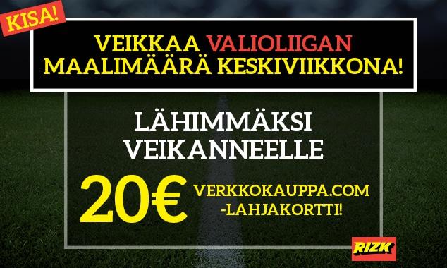 VALIOLIIGA-KISA: Veikkaa illan maalimäärä! - lähimmäksi veikanneelle 20€:n Verkkokauppa.com-lahjakortti