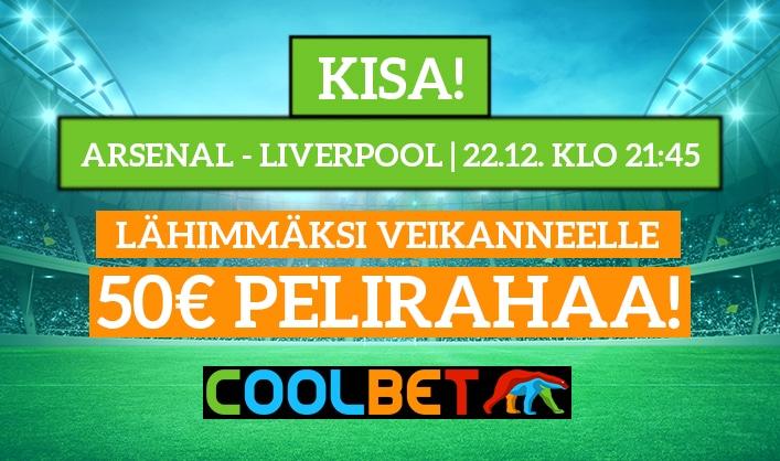 Arsenal – Liverpool -KISA! - lähimmäksi veikanneelle 50€ pelirahaa