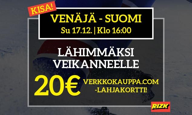 Venäjä – Suomi -KISA! - lähimmäksi veikanneelle 20€:n Verkkokauppa.com-lahjakortti