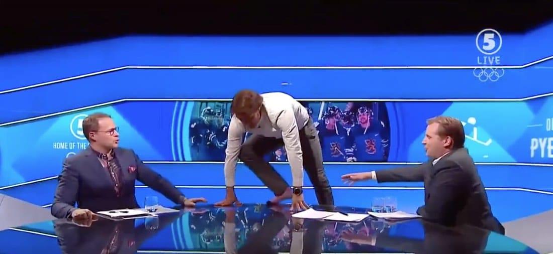 Video: Saksan finaalipaikka pilasi Selänteen vedon – joutui tekemään spagaatin tv-studion pöydällä