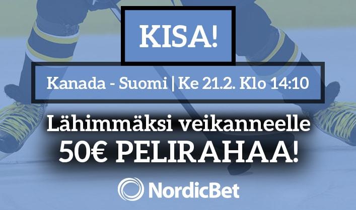 Kanada – Suomi -KISA! – lähimmäksi veikanneelle NordicBetin huppari