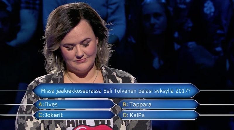 Haluatko miljonääriksi Eeli Tolvanen Nelonen / Pallomeri.net