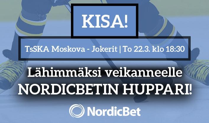 TsSKA Moskova – Jokerit -KISA! – lähimmäksi veikanneelle NordicBetin huppari