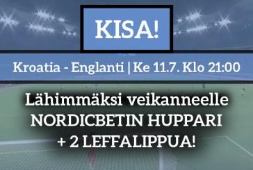 Kroatia – Englanti -KISA! – lähimmäksi veikanneelle NordicBetin huppari + 2 leffalippua