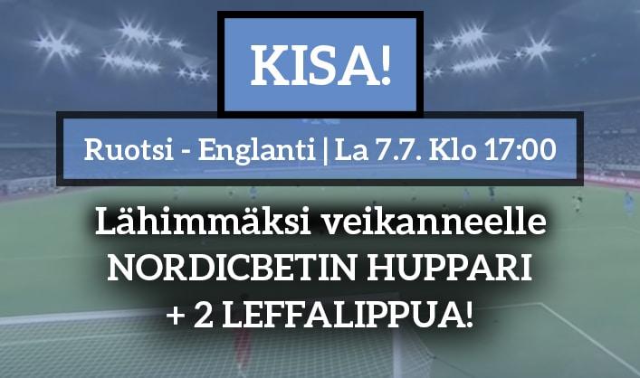 Ruotsi – Englanti -KISA! – lähimmäksi veikanneelle NordicBetin huppari + 2 leffalippua