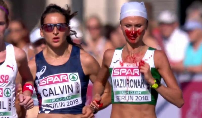 Video: EM-maratonilla draamaa - voittaja juoksi alkumatkasta naama verisenä