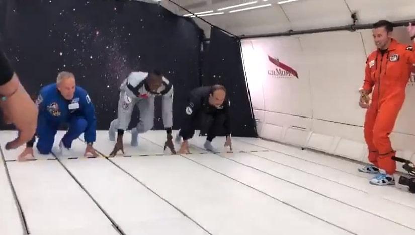 """Video: Usain Bolt """"juoksi"""" kilpaa painottomassa tilassa"""