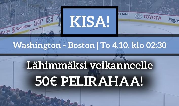 Washington – Boston -KISA! – lähimmäksi veikanneelle 50€ pelirahaa