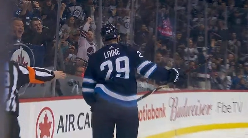Video: Patrik Laine osui Blake Wheelerin ihanasta passista