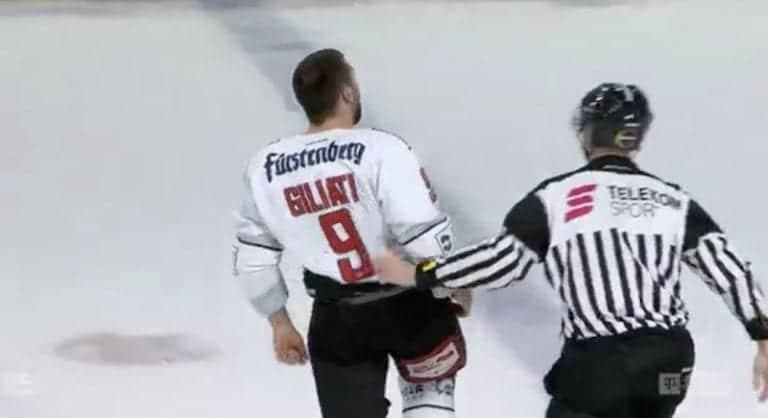 Video: Stefano Giliati lähti jäähyaitiosta takaisin kaukaloon tappelemaan