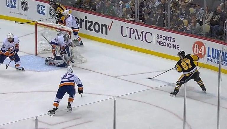 Video: Sidney Crosby ampui uskomattoman osuman lähes nollakulmasta