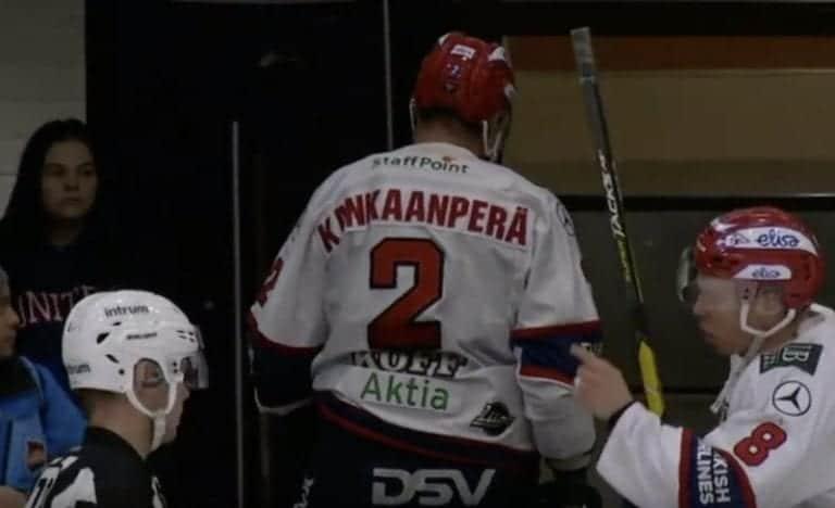 Video: HIFK:n Markus Kankaanperä lensi suihkuun laitataklauksesta