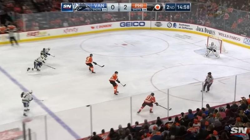 Video: Philadelphia Flyers tunaroi urakalla – Canucks rankaisi välittömästi