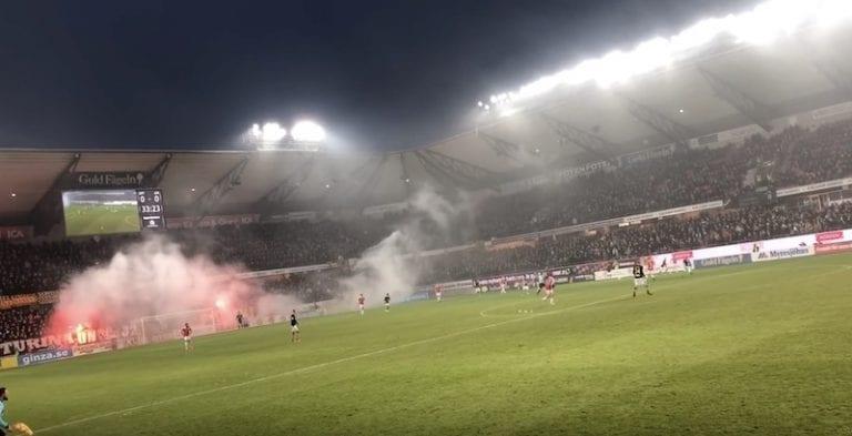 Video: AIK-fanit soihduttivat maalivahdin savuun – oma joukkue iski maalin