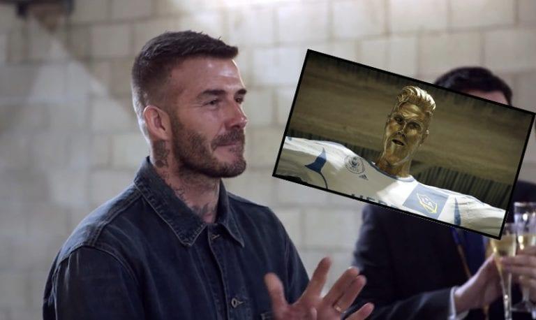 Video: David Beckham jäynättiin mahtavalla tavalla – miehen patsas olikin sysiruma