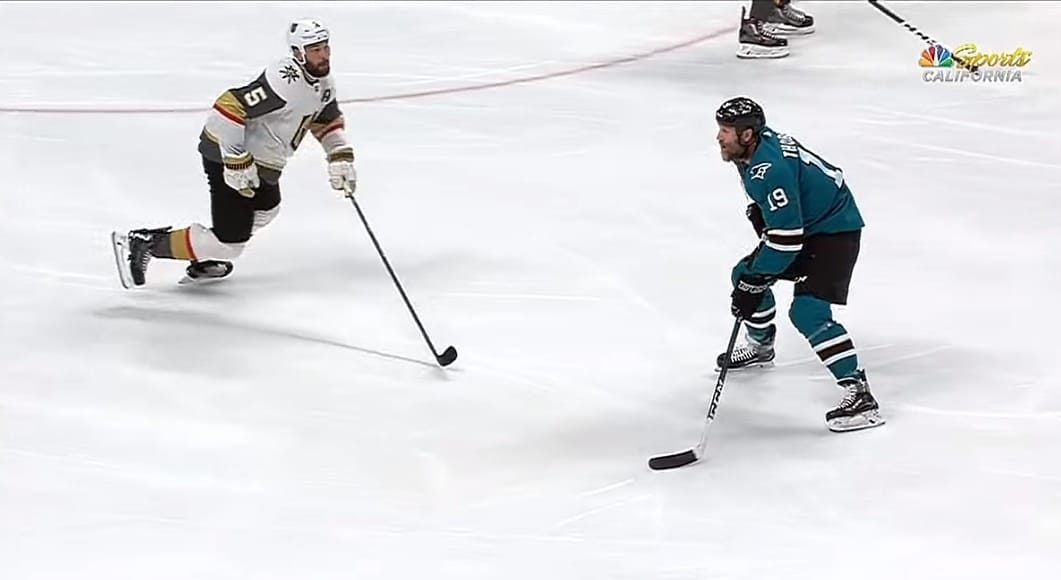 Video: Joe Thornton kiskaisi upean no-look-osuman Vegasia vastaan