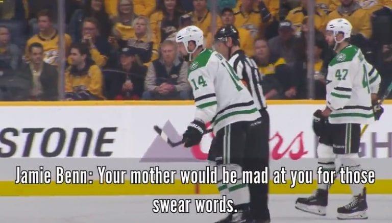 """Video: Jamie Benn torui tuomari Wes McCauleyta – """"Äitisi olisi vihainen!"""""""