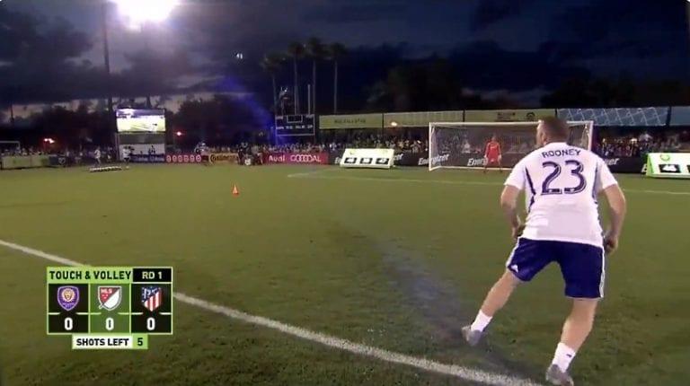 Video: Wayne Rooney tälläsi hämmästyttävän upean volleyosuman MLS:n taitokisassa