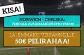 Norwich – Chelsea -KISA! - Lähimmäksi veikanneelle 50€ pelirahaa!