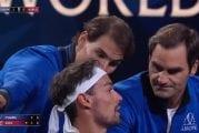 Video: Oppitunti positiivisuudesta - Federer ja Nadal läksyttivät Fogninia kesken matsin