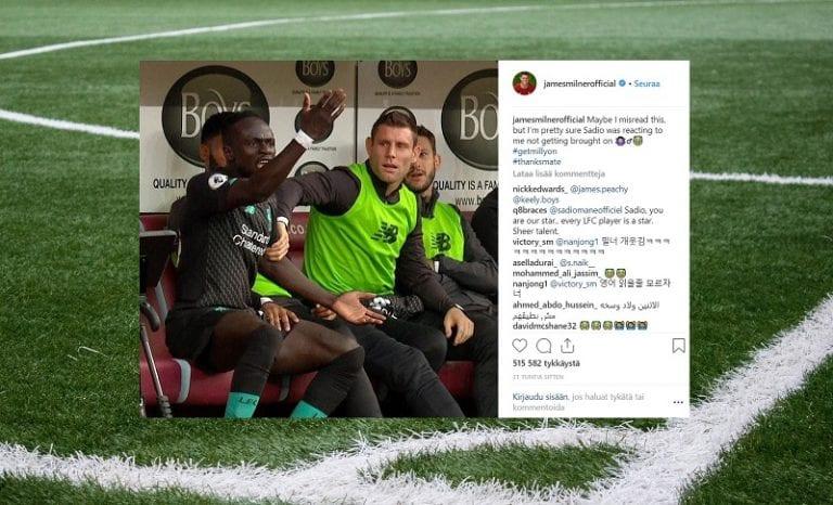 Kuva: James Milner kuittasi nokkelasti Instagramissa Liverpool-tähtien riidasta