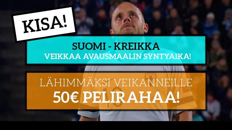 Suomi – Kreikka -KISA! – Lähimmäksi veikanneelle 50€ pelirahaa!