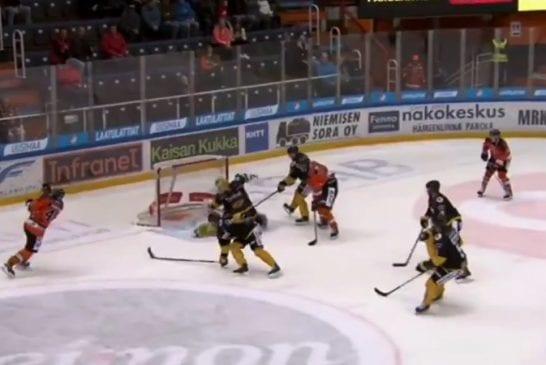 Video: SaiPan Niclas Westerholm nappasi mykistävän mailatorjunnan - maalivalot ehtivät jo vilkkua