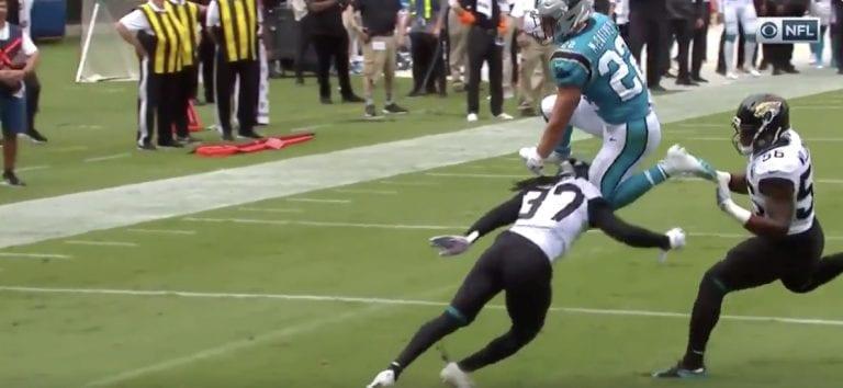 Video: NFL:ssä nähtiin fantastinen touchdown – volttihyppy vastustajan yli maalialueelle