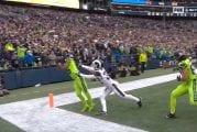 Video: Aivan tajuton touchdown - Tyler Lockett kahmaisi huikean kopin maalialueen kulmassa