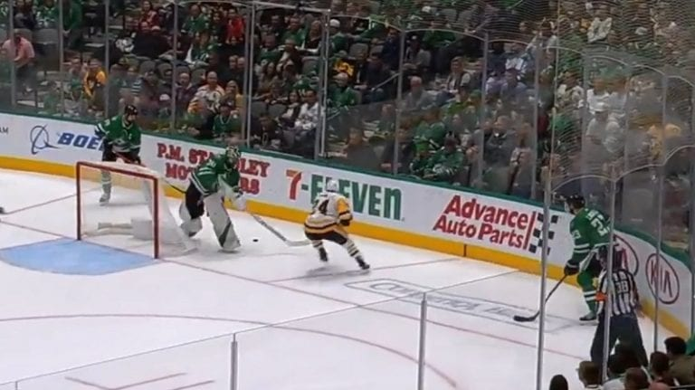 Video: Ben Bishop hölmöili Pittsburghille helpon maalin – hukkasi kiekon maalin takana