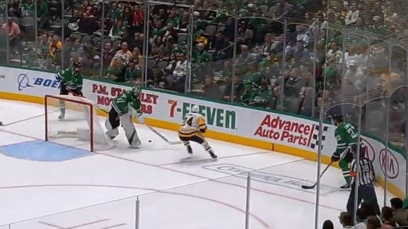 Video: Ben Bishop hölmöili Pittsburghille helpon maalin – hukkasi kiekon maalin takana