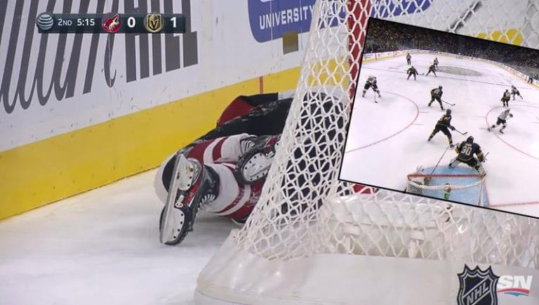 Video: NHL:ssä ilkeä tilanne – Clayton Keller liukui säkit edellä suoraan tolppaan