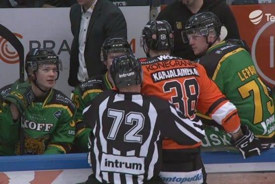 Video: HPK:n Miro Karjalainen lensi pihalle - uhitteli Ilveksen vaihtopenkin edessä jatkoajan päätyttyä
