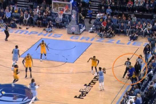 Video: NBA-tuomari törmäsi faniin sivurajalla - juoma kaatui kentälle ja peli keskeytyi