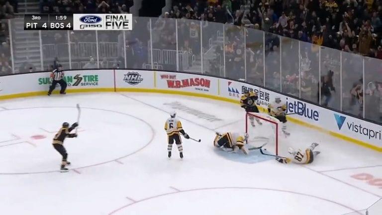 Video: Brad Marchand ampui voittomaalin tolpan ja selän kautta – Sidney Crosbyn pelastussyöksy ei riittänyt