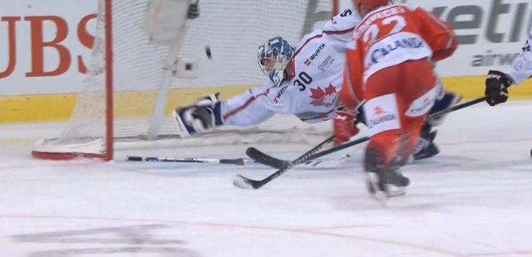 Video: Kanadalaisveskari syöksyi jäätävällä tavalla kiekon tielle Spengler Cupissa