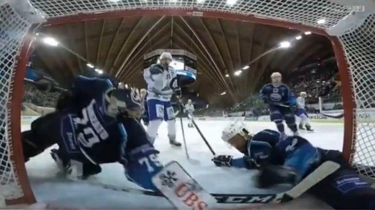 Video: Ambri-Piottan maalivahti venytti Spengler Cupissa – osa kiekosta oli jo maaliviivan yli